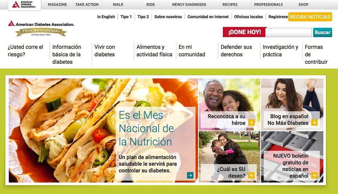 Captura de pantalla del sitio de la Asociación Americana contra la Diabetes