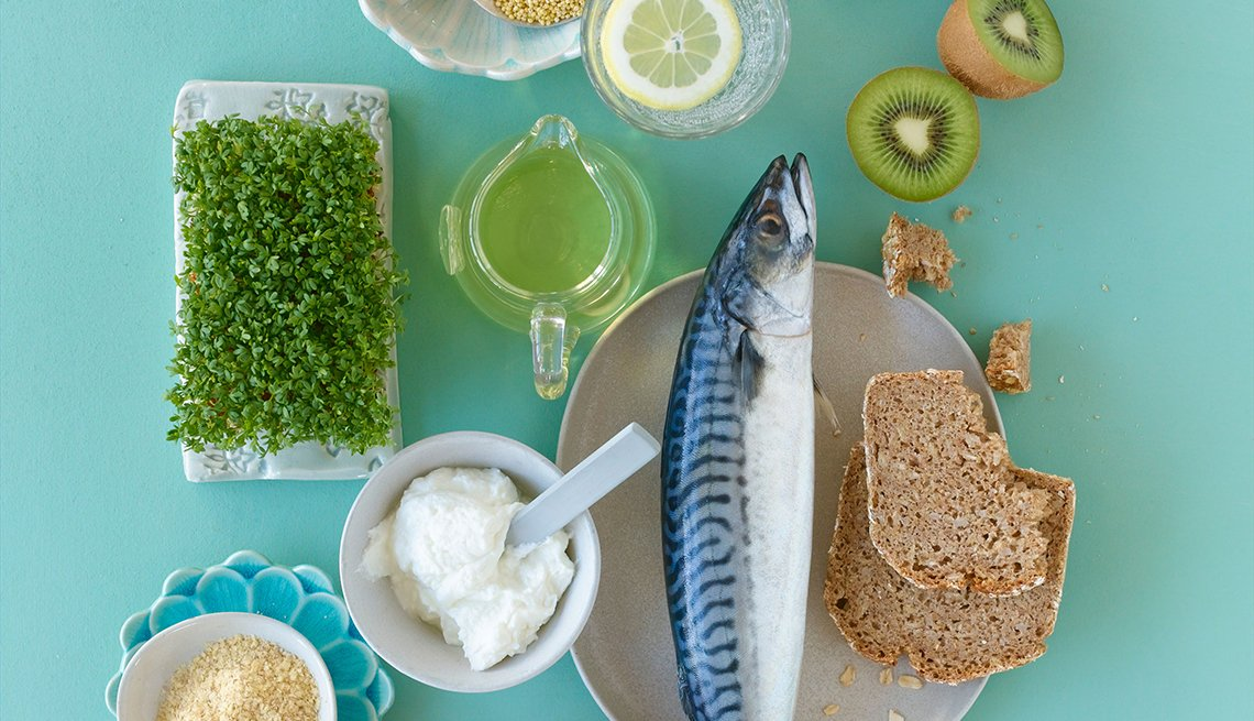 fish with fruits, grains and greens, diabetes prevention