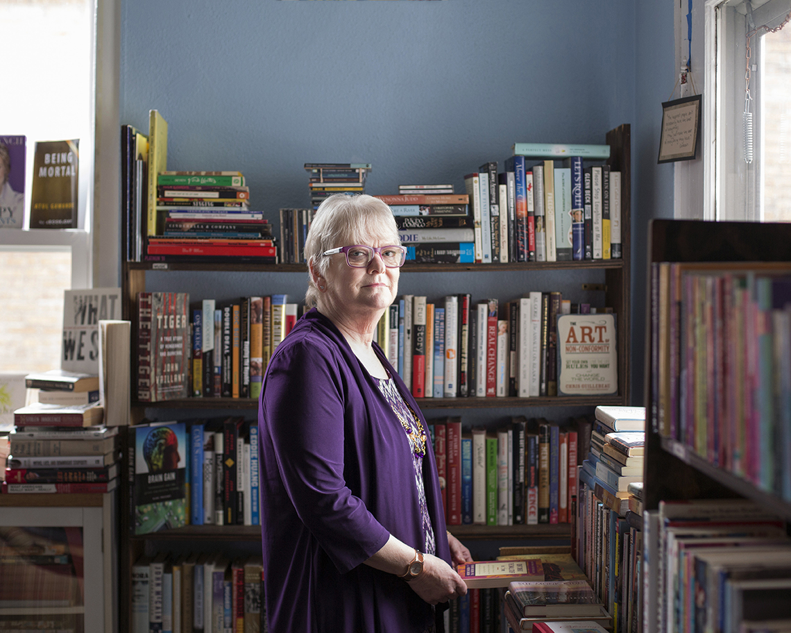 Cynthia Thoma in her Gracie's Book Store, Faces of Addiction, Opioids AARP