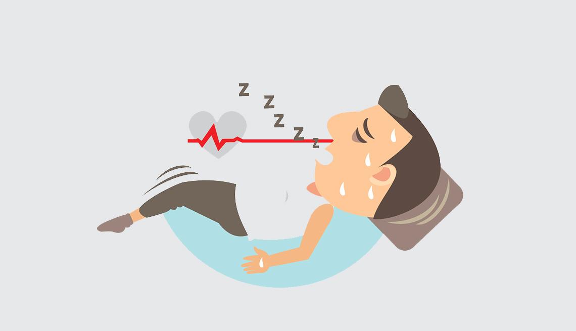 Gráfico de un hombre durmiendo y roncando