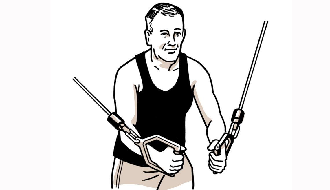 Gráfico de un hombre haciendo ejercicios de resistencia