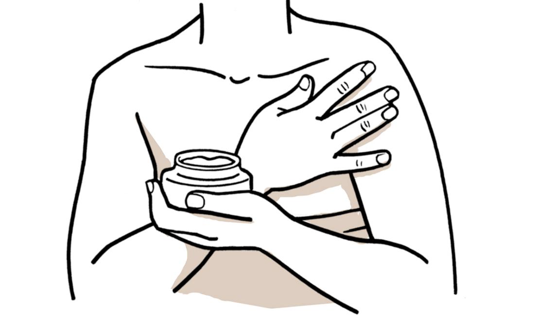 Gráfico de una mujer con una crema