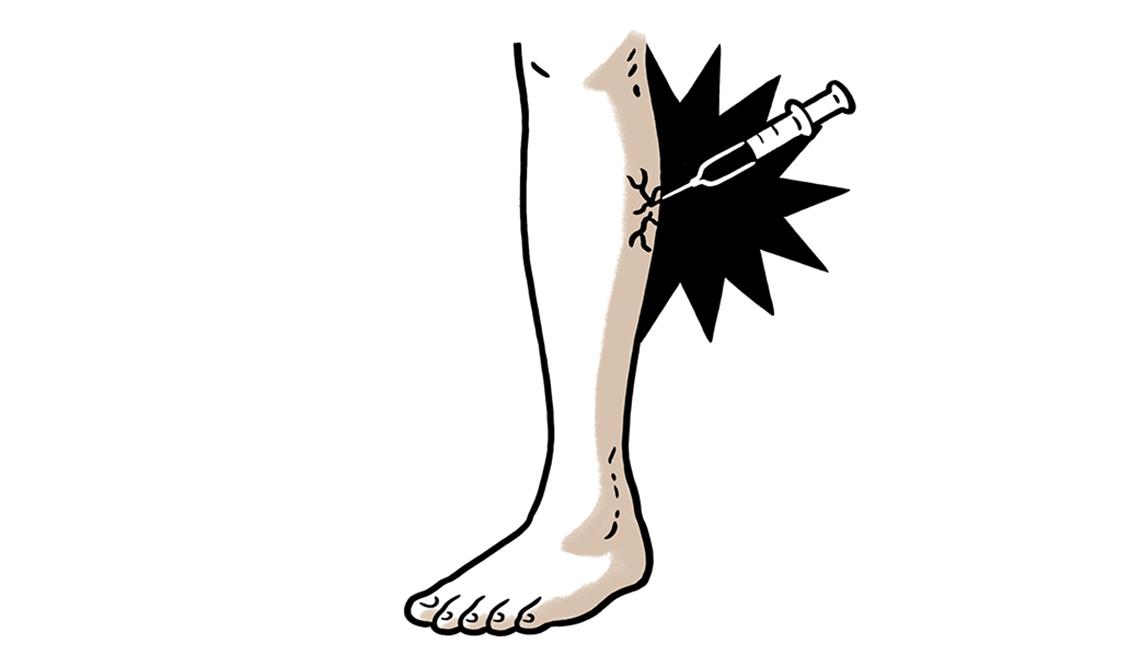 Gráfico de una pierna y una inyección