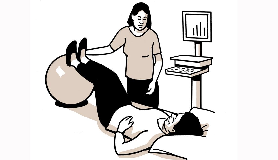 Gráfico de una persona recibiendo terapia física