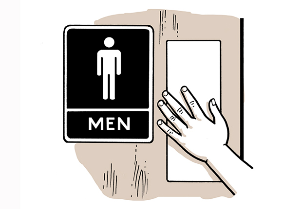 Rotulación de un baño para hombres