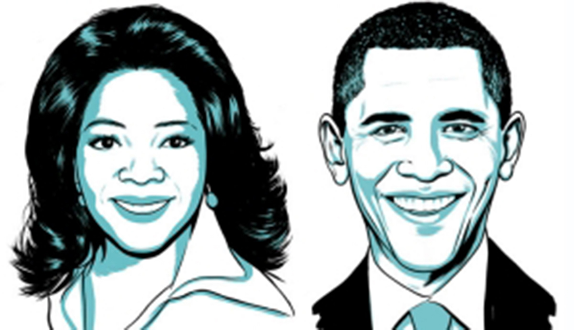 Boceto de Oprah Winfrey y Barack Obama