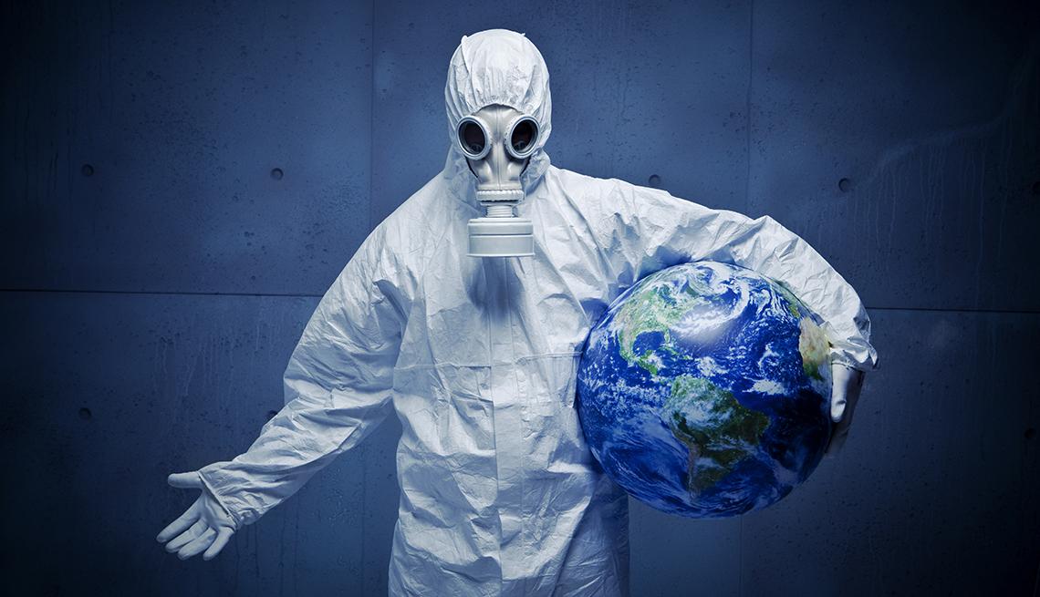 Persona con vestimenta contra material peligroso - Infecciones del siglo 20 y siglo 21