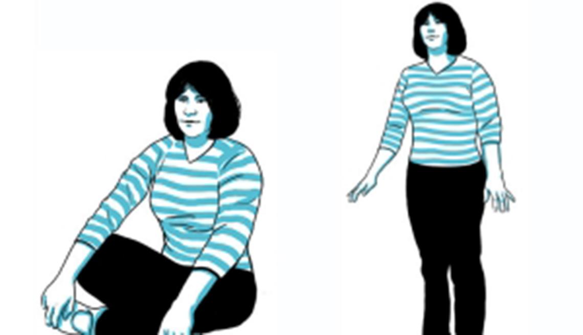 Gráfico de una mujer sentada y de pie