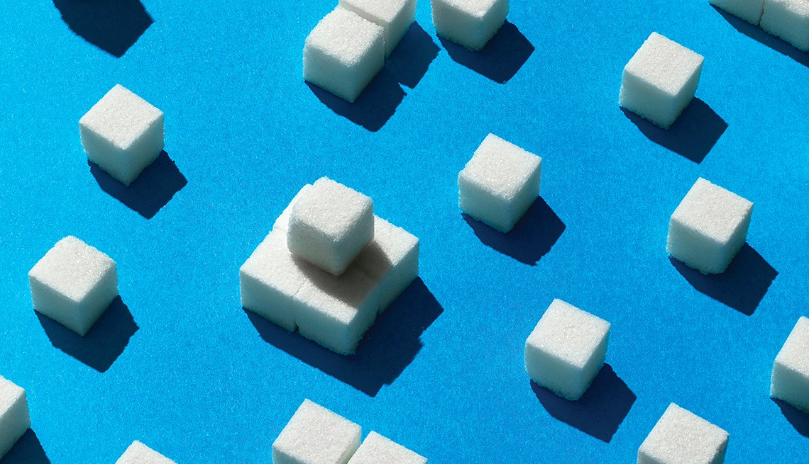 sugar cubes in a pattern on blue
