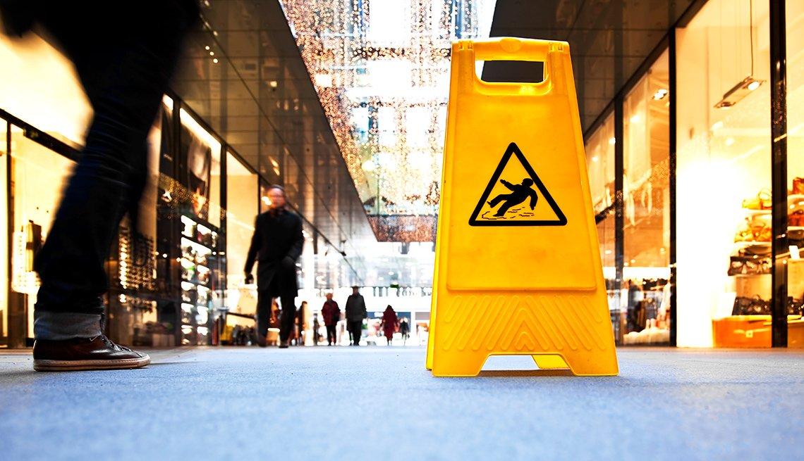 Yellow fall warning sign