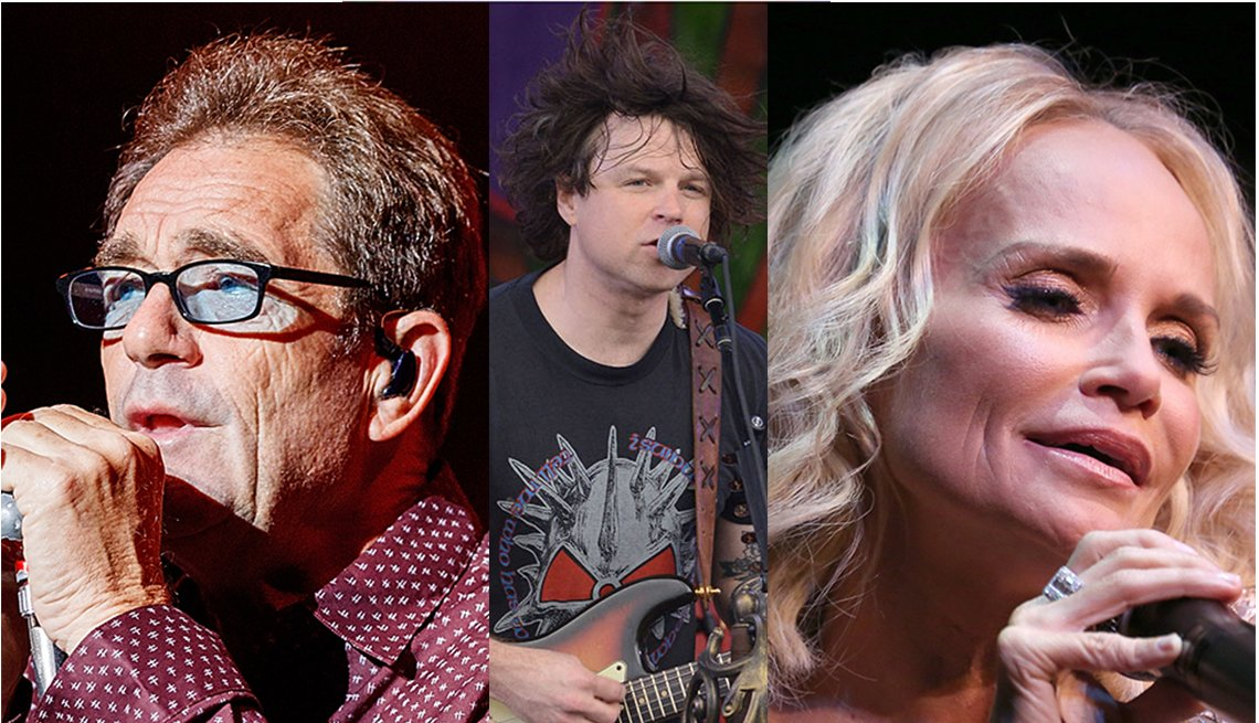Separate images of Huey Lewis, Ryan Adams and Kristin Chenoweth singing.