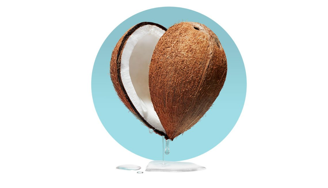 an illustration of a Coconut on blue back ground