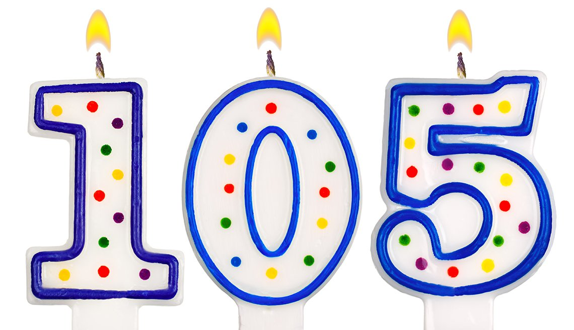Blue and white number birthday candles spelling out 105.