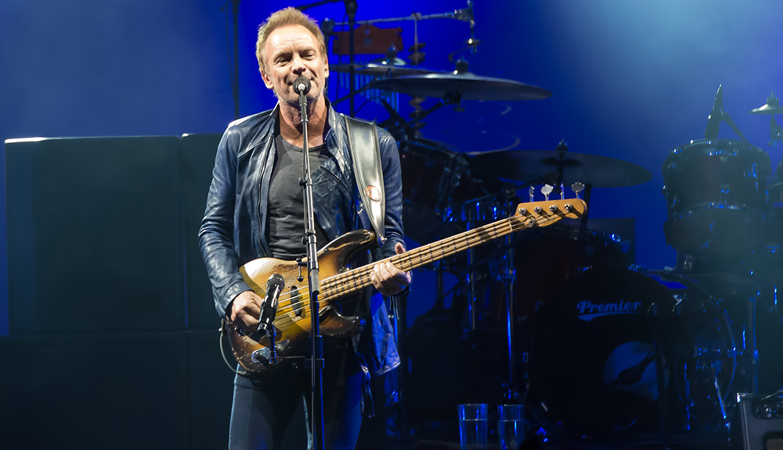 Sting performs on stage
