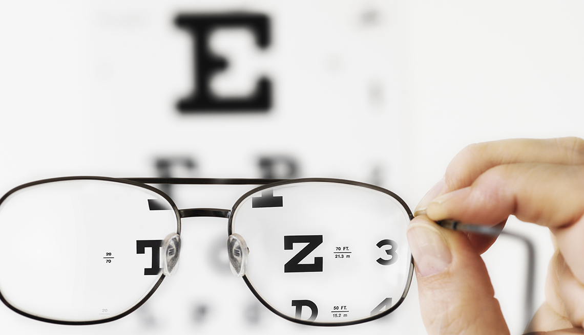 Glasses in front of an eye chart