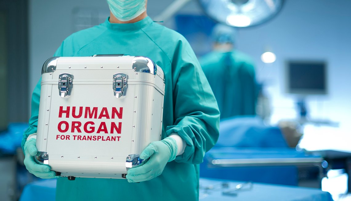 Doctor holding box with human organ for transplant