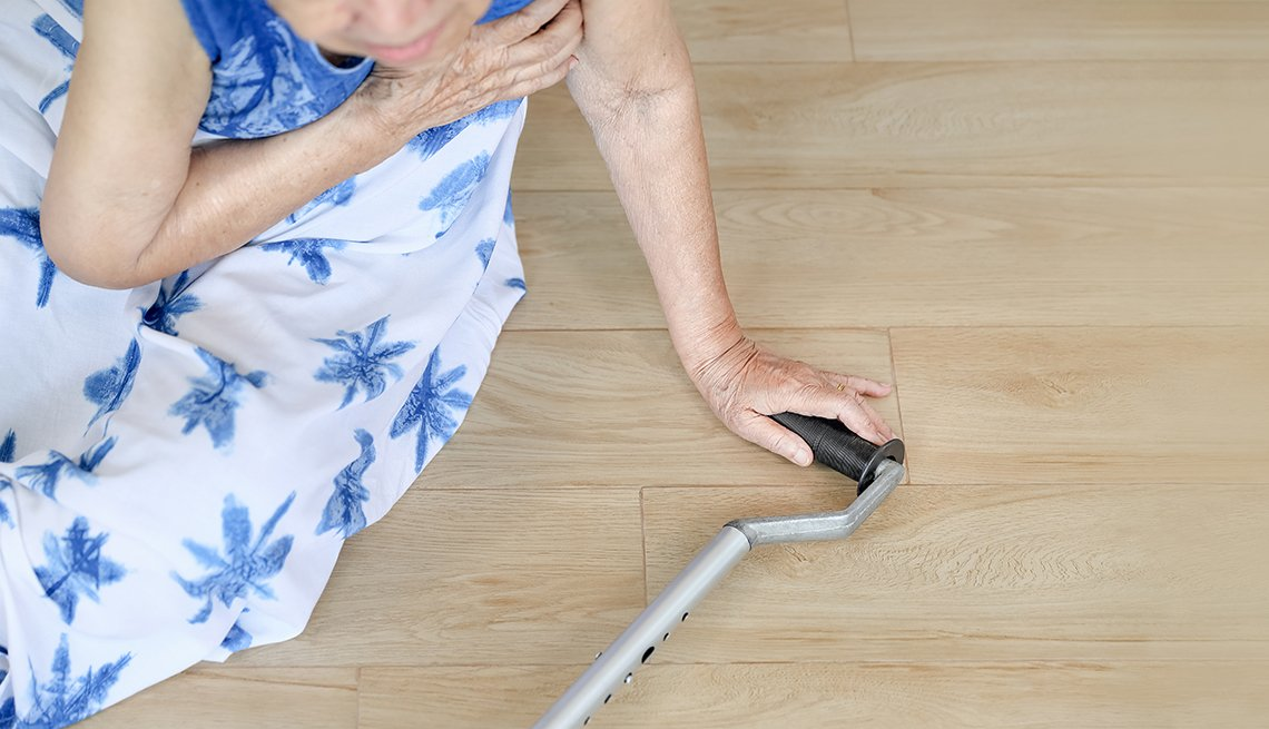 Woman falling down at home
