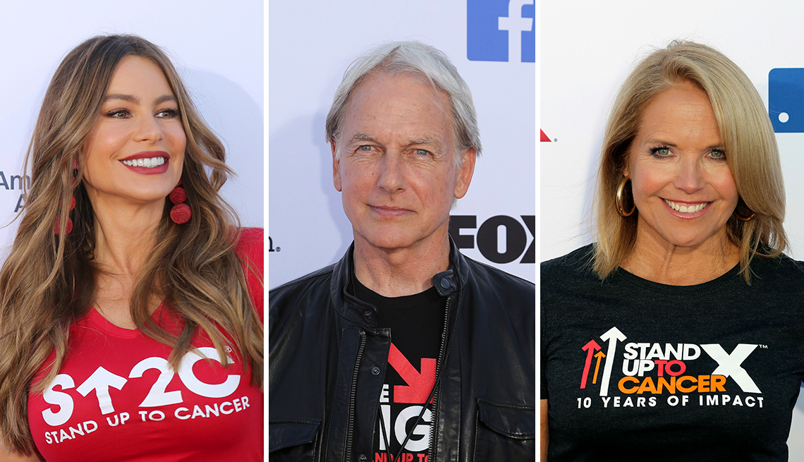 Sofia Vegara, Mark Harmon and Katie Couric at 2018's Stand Up To Cancer telethon