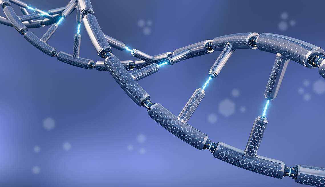 Computer graphic of a DNA strand on a blue background.