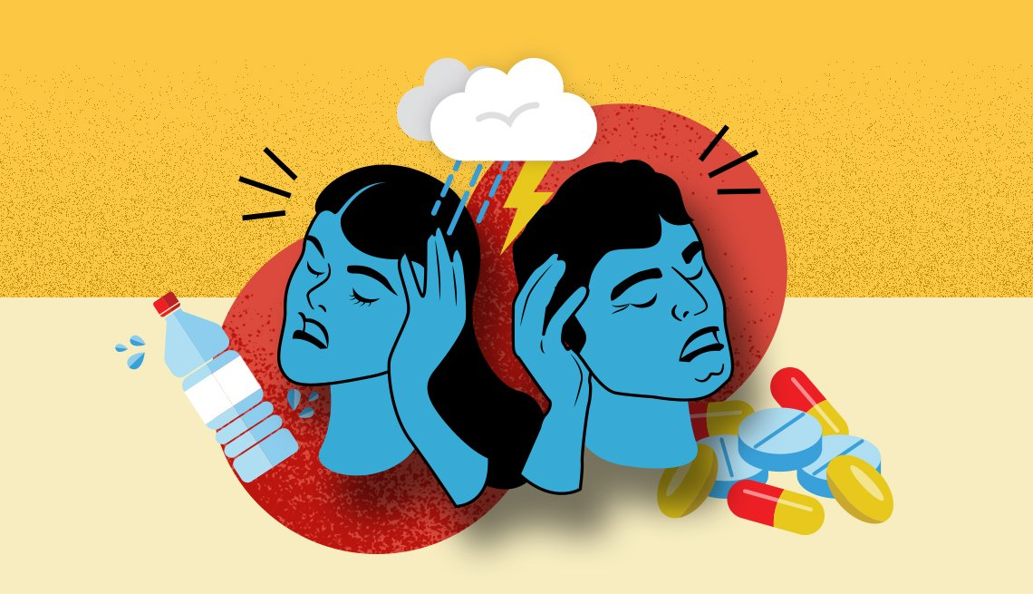 Graphic depicting a man and woman both suffering from headaches with a background of a water bottle and medications.