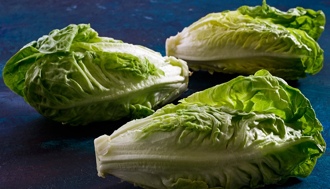 Three heads of Romaine lettuce