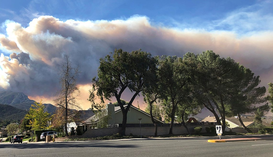 A large plume of smoke from a wildfire in southern California
