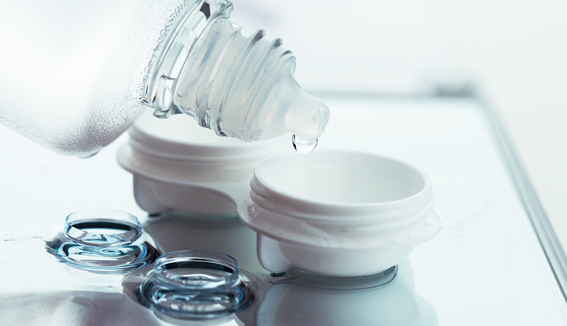 Use contact lens solution to care for your contacts