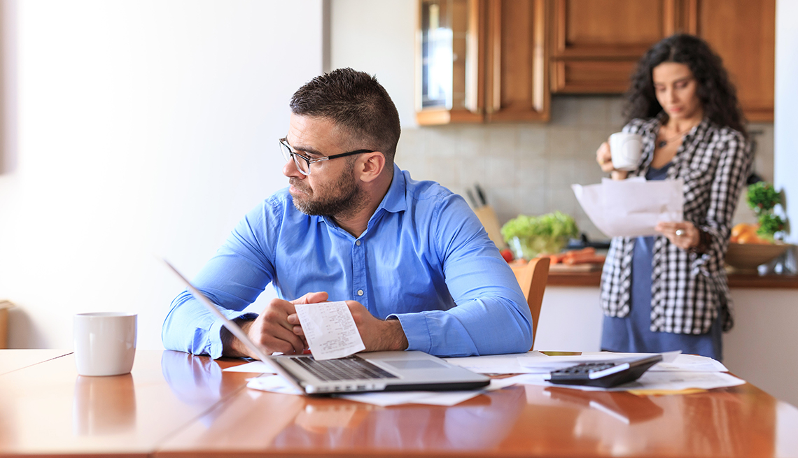 Couple reviews their bills