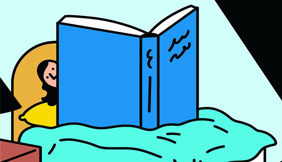 Ilustración de una mujer leyendo un libro gigante