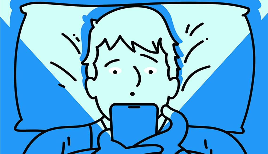 Ilustración de un hombre usando su teléfono en la cama