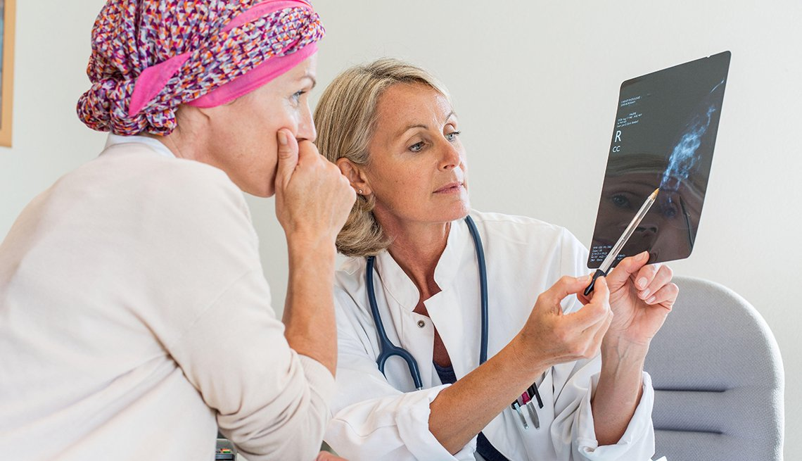 Doctor commenting on a mammography to her patient
