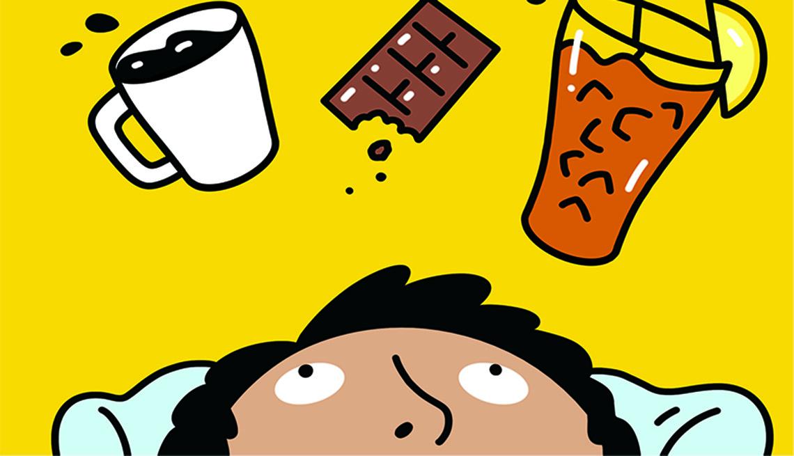 Ilustración de un hombre y sobre él flotan una taza de café, chocolate y té helado