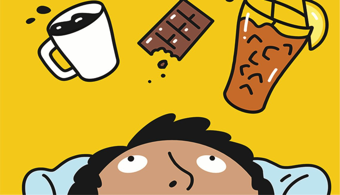 An illustration of a man laying down looking up at floating sources of caffeine: coffee, chocolate and iced tea.