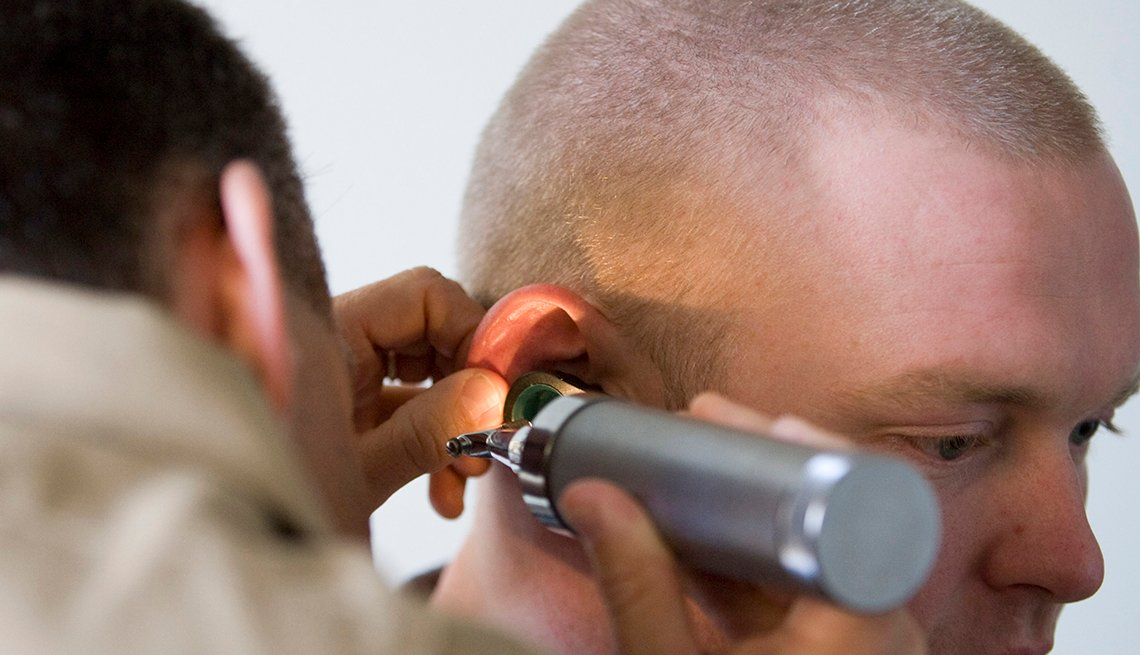 A veteran gets his hearing checked