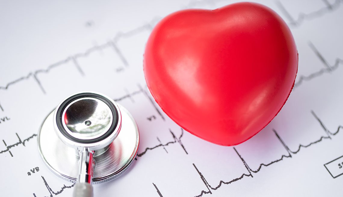A heart along with a stethoscope and EKG printout