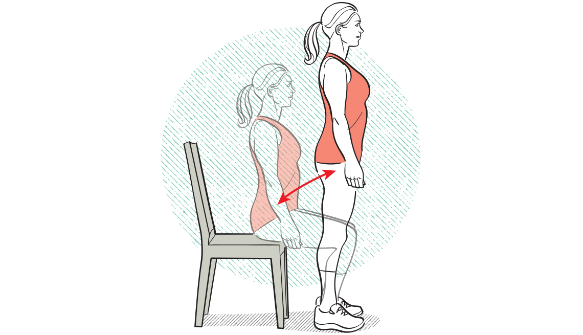 Diagrama de una mujer haciendo sentadillas con una silla