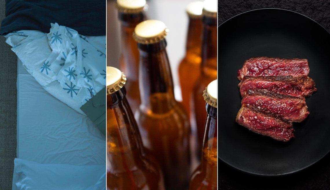 Foto montaje de una cama, botellas de cerveza y carne roja