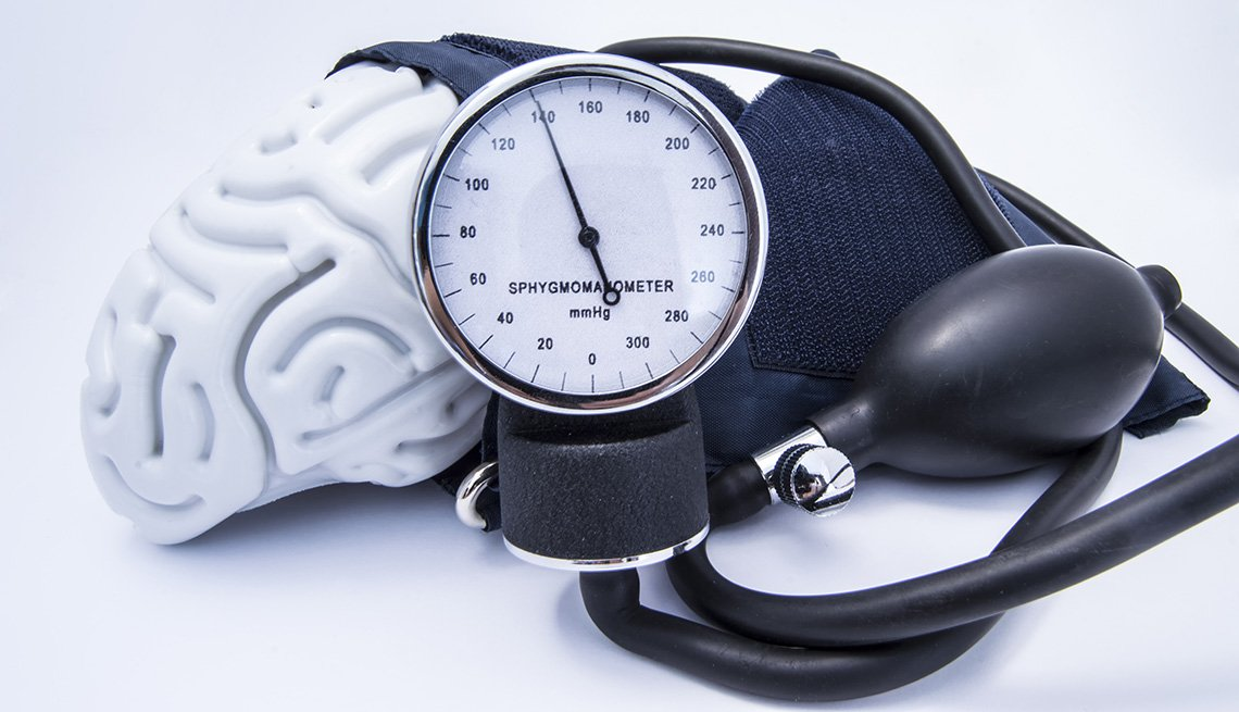 A figure of a human brain enveloped by a sphygmomanometer
