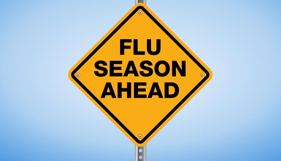 A yellow warning sign that says 'Flu Season Ahead'