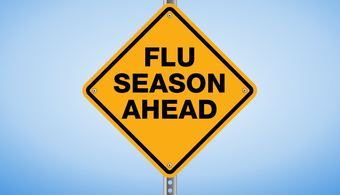 A yellow warning sign that says 'Flu Season Ahead'