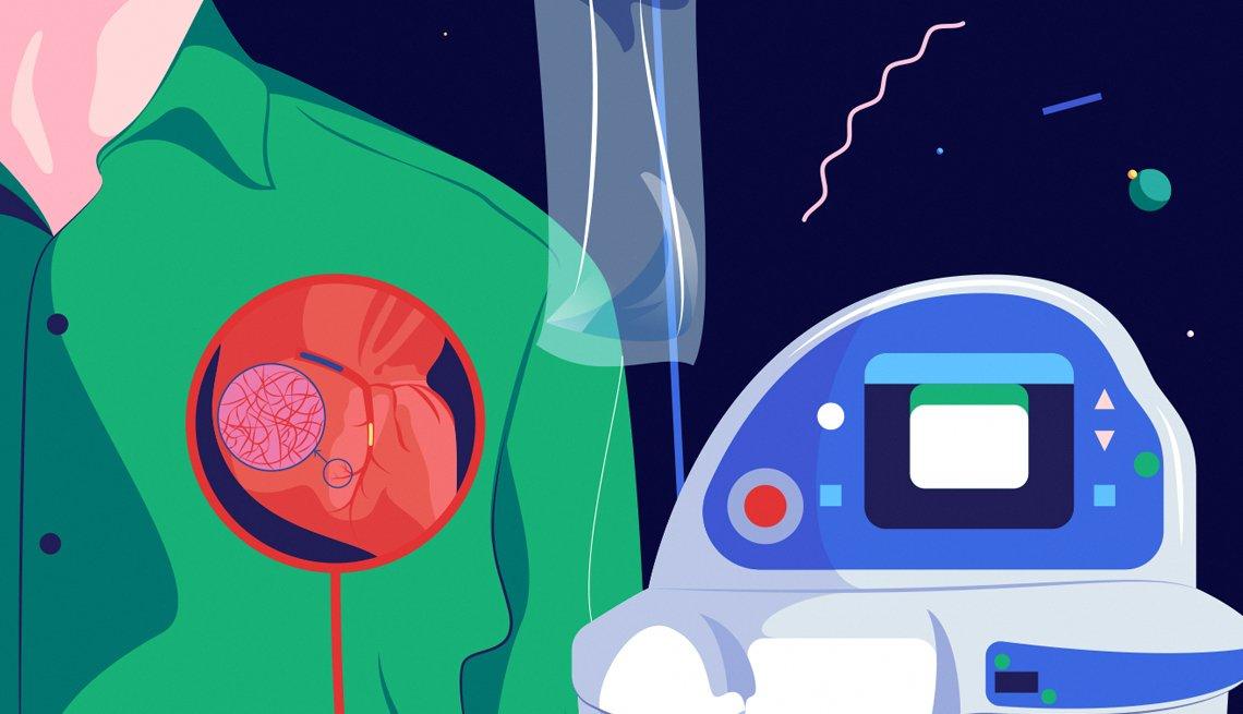 Una ilustración que muestra una representación de un tratamiento con oxígeno que limita el daño durante un ataque cardíaco