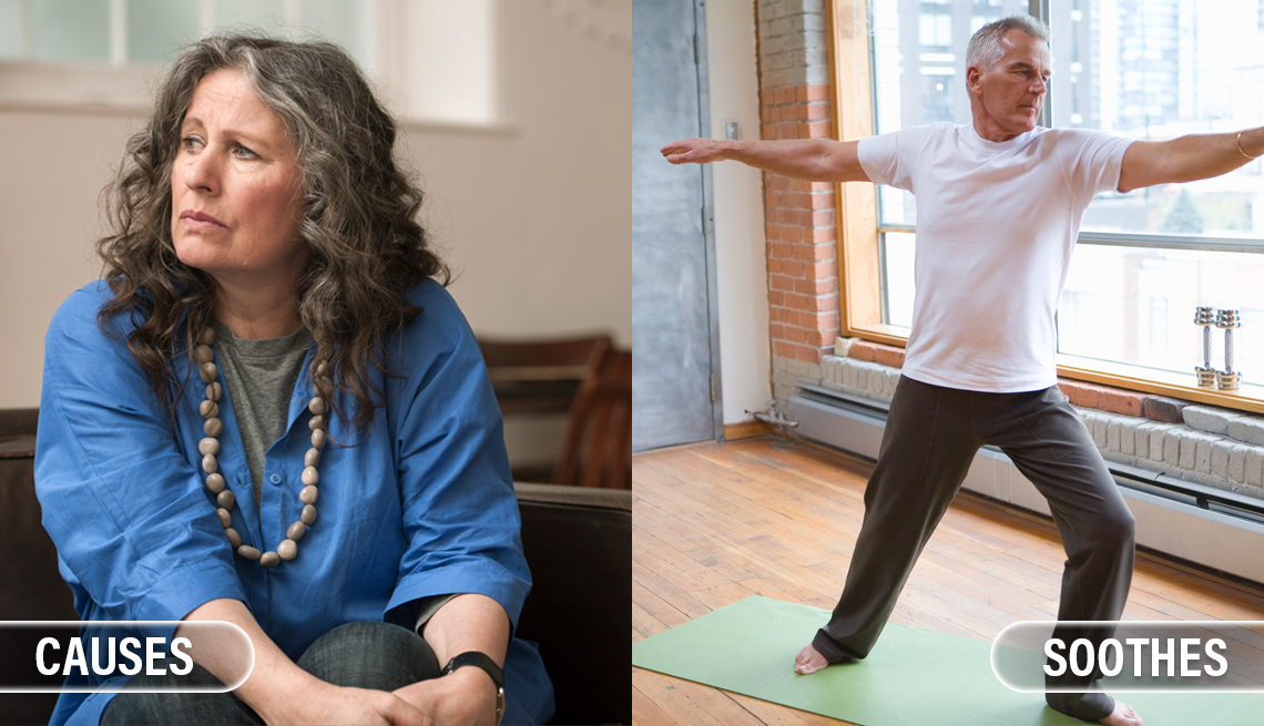 item 3 of Gallery image - split image. on the left is a mature woman looking upset or anxious with the caption causes inflammation and on the right is a man practicing a yoga pose with the caption soothes