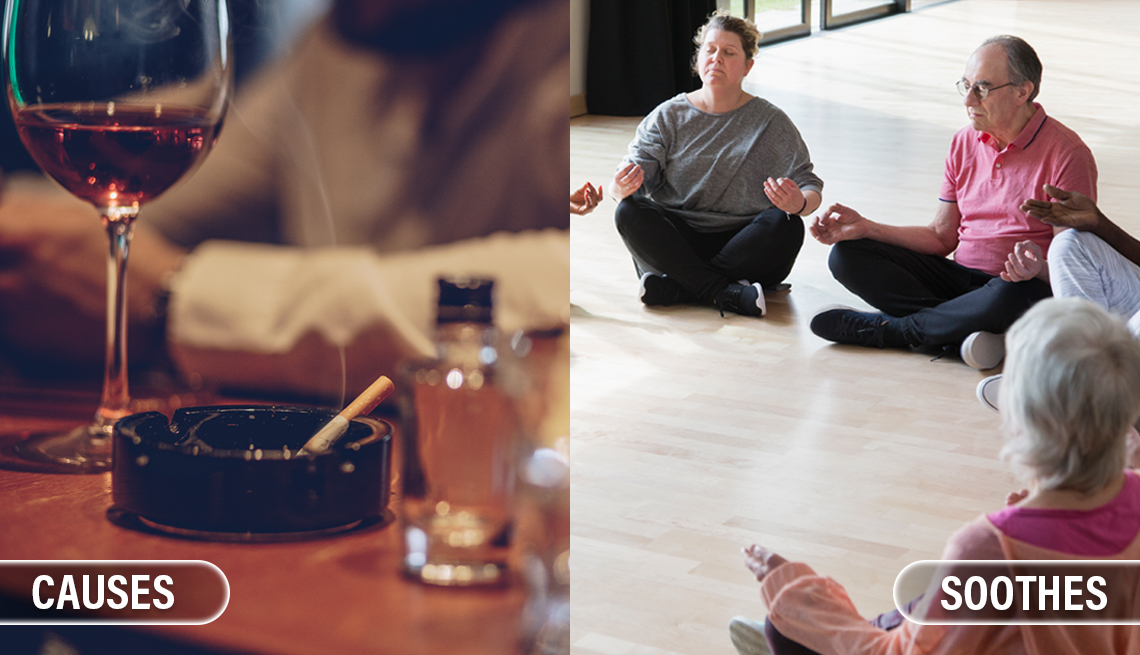 item 5 of Gallery image - split image of a scene from a bar with someone smoking and drinking wine which is labeled causes and another scene of a group of people sitting in a circle in a meditation class labeled soothes