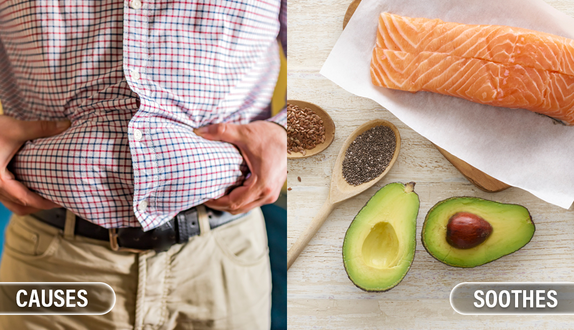 item 6 of Gallery image - a man is squeezing his belly to show that he is a little overweight and it is labeled causes. to the right is a different image of salmon, avocadas, and chia seeds to represent healthy fats and is labeled soothes inflammation