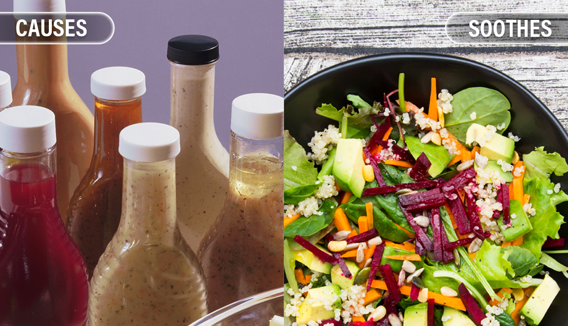 item 7 of Gallery image - bottled commercial salad dressings cause inflammation and big colorful salads of fruits and vegetables can soothe it