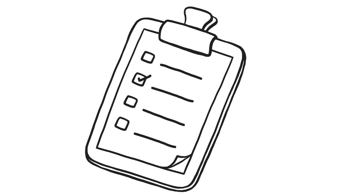 line drawing of a checklist on a clipboard