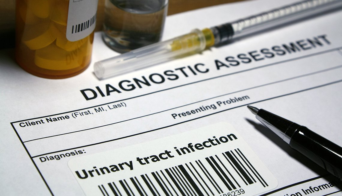 Diagnostic assessment form for urinary tract infection with pill bottles, needle, and pen
