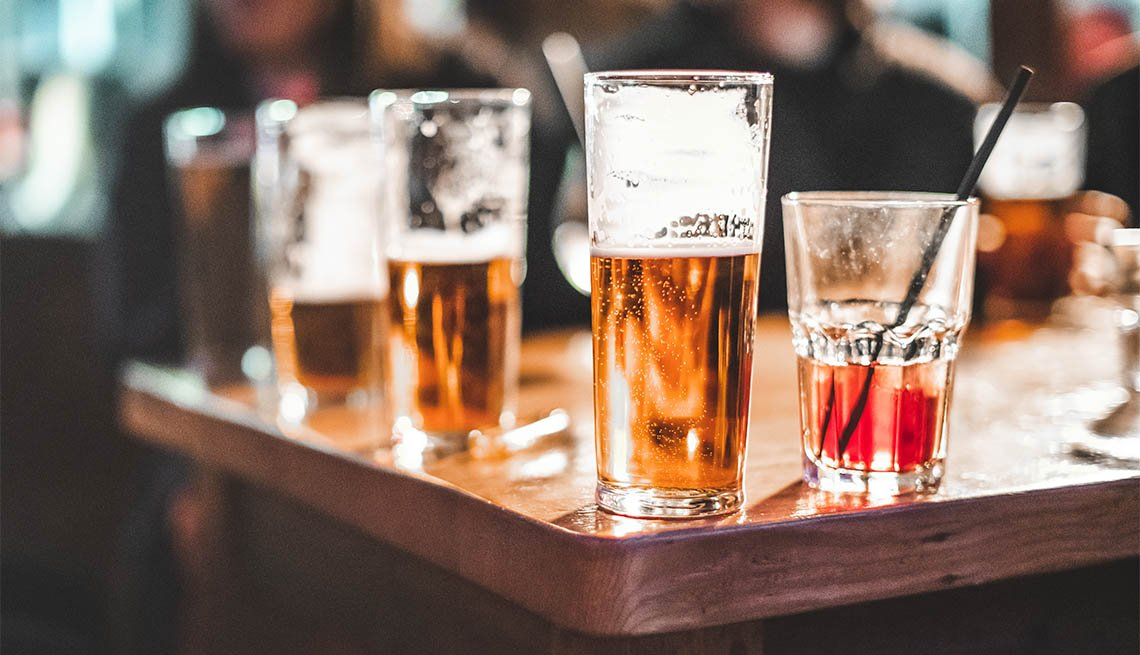 beer glasses on table