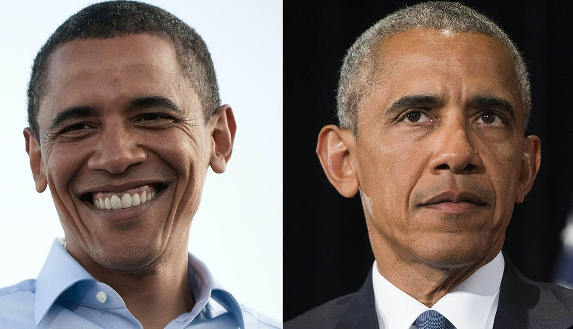 (COMBO) This combination of pictures created on January 17, 2017 showsUS President Barack Obama during his first campaighn on August 30, 2008 (L),and during a press conference on September 5, 2016 (R).With his temples a bit grayer now, Barack Obama will l