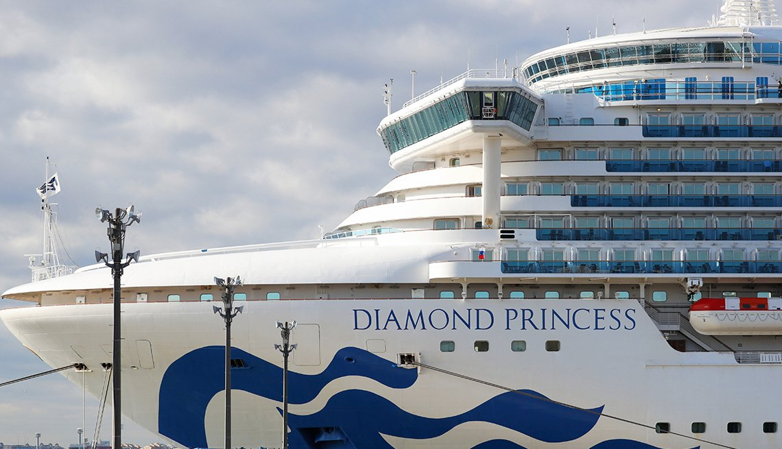 The Diamond Princess cruise ship which is anchored at Daikoku Pier of the Yokohama Port is seen prior to quarantined passengers disembark on February 19, 2020 in Yokohama, Kanagawa, Japan
